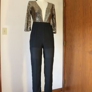 Xtaren Black & Gold Sequin Jumpsuit